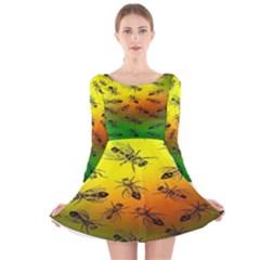 Insect Pattern Long Sleeve Velvet Skater Dress