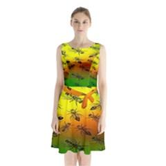 Insect Pattern Sleeveless Chiffon Waist Tie Dress