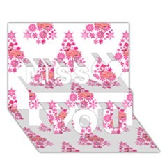 Pink Flamingo Santa Snowflake Tree  Miss You 3D Greeting Card (7x5)