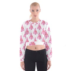 Pink Flamingo Santa Snowflake Tree  Women s Cropped Sweatshirt