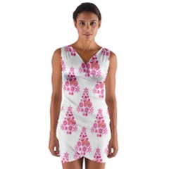 Pink Flamingo Santa Snowflake Tree  Wrap Front Bodycon Dress