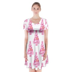 Pink Flamingo Santa Snowflake Tree  Short Sleeve V-neck Flare Dress