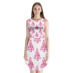 Pink Flamingo Santa Snowflake Tree  Sleeveless Chiffon Dress