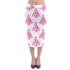 Pink Flamingo Santa Snowflake Tree  Midi Pencil Skirt