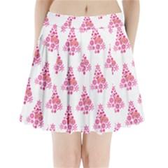 Pink Flamingo Santa Snowflake Tree  Pleated Mini Skirt
