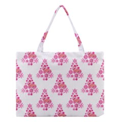Pink Flamingo Santa Snowflake Tree  Medium Tote Bag