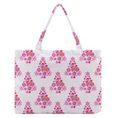 Pink Flamingo Santa Snowflake Tree  Medium Zipper Tote Bag