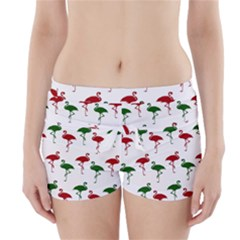 Flamingo Christmas Pattern Red Green Boyleg Bikini Wrap Bottoms