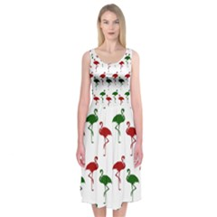 Flamingo Christmas Pattern Red Green Midi Sleeveless Dress