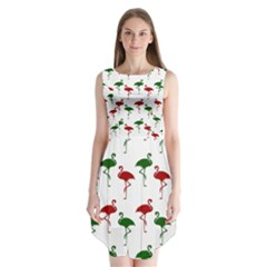Flamingo Christmas Pattern Red Green Sleeveless Chiffon Dress