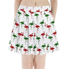 Flamingo Christmas Pattern Red Green Pleated Mini Skirt