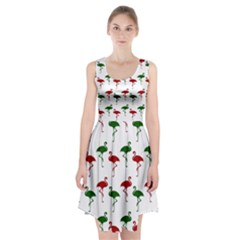 Flamingo Christmas Pattern Red Green Racerback Midi Dress