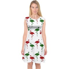 Flamingo Christmas Pattern Red Green Capsleeve Midi Dress