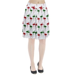 Flamingo Christmas Pattern Red Green Pleated Skirt