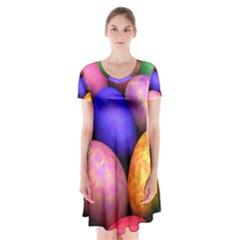 Easter Egg Short Sleeve V Neck Flare Dress