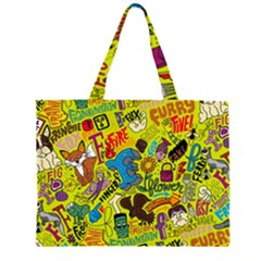 F Pattern Cartoons Large Tote Bag