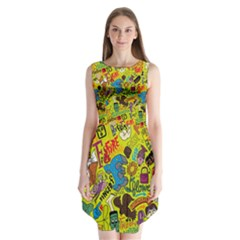 F Pattern Cartoons Sleeveless Chiffon Dress