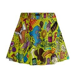 F Pattern Cartoons Mini Flare Skirt