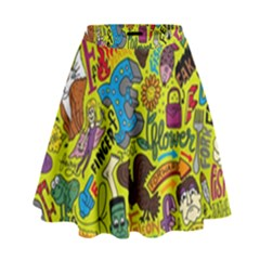 F Pattern Cartoons High Waist Skirt