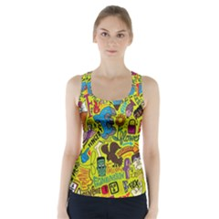 F Pattern Cartoons Racer Back Sports Top