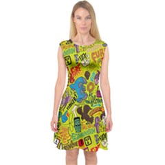 F Pattern Cartoons Capsleeve Midi Dress