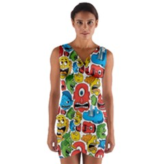 Face Creeps Cartoons Fun Wrap Front Bodycon Dress