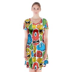 Face Creeps Cartoons Fun Short Sleeve V-neck Flare Dress