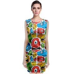 Face Creeps Cartoons Fun Classic Sleeveless Midi Dress