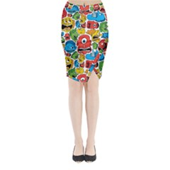 Face Creeps Cartoons Fun Midi Wrap Pencil Skirt