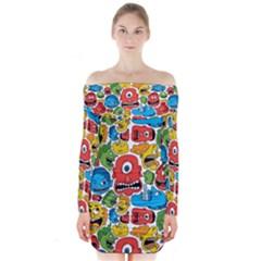 Face Creeps Cartoons Fun Long Sleeve Off Shoulder Dress