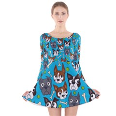 Face Dog And Bond Long Sleeve Velvet Skater Dress