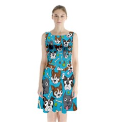 Face Dog And Bond Sleeveless Chiffon Waist Tie Dress
