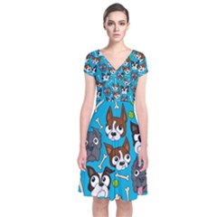 Face Dog And Bond Short Sleeve Front Wrap Dress