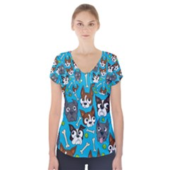 Face Dog And Bond Short Sleeve Front Detail Top
