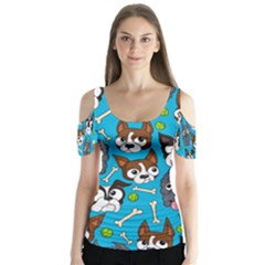 Face Dog And Bond Butterfly Sleeve Cutout Tee