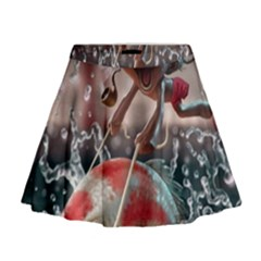 Funny Cartoon Fish Mini Flare Skirt
