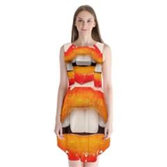 Glossy Lips Sleeveless Chiffon Dress