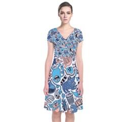 Gross Patten Now Short Sleeve Front Wrap Dress