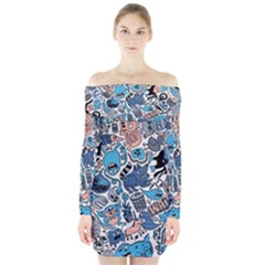 Gross Patten Now Long Sleeve Off Shoulder Dress