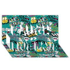 Haha Wow Pattern Laugh Live Love 3d Greeting Card (8x4)
