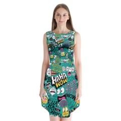 Haha Wow Pattern Sleeveless Chiffon Dress