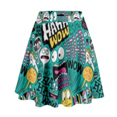 Haha Wow Pattern High Waist Skirt