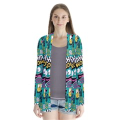 Haha Wow Pattern Drape Collar Cardigan