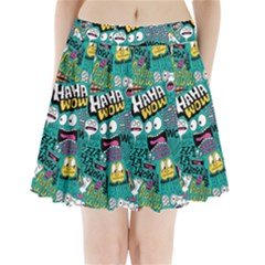 Haha Wow Pattern Pleated Mini Skirt