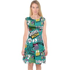 Haha Wow Pattern Capsleeve Midi Dress