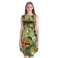 Halloween Pattern Sleeveless Chiffon Dress