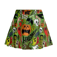 Halloween Pattern Mini Flare Skirt