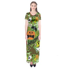 Halloween Pattern Short Sleeve Maxi Dress