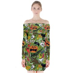 Halloween Pattern Long Sleeve Off Shoulder Dress