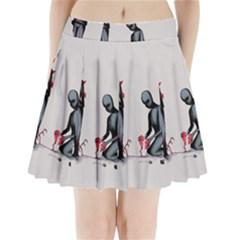 Elastic Heart  Pleated Mini Skirt
